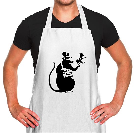 Banksy Listening Rat Apron