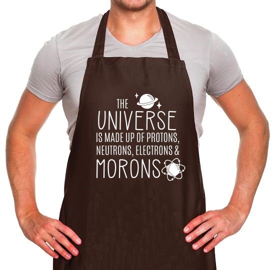 The Universe is made of Protons, Neutrons Morons Apron