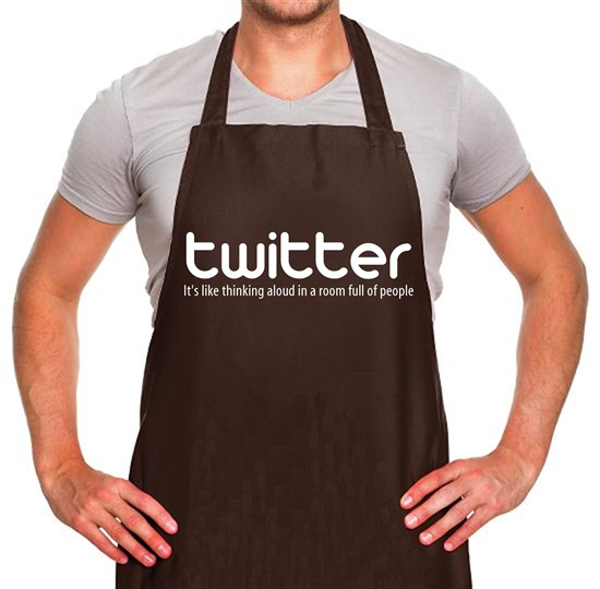 twitter it's like thinking aloud in a room full of people Apron