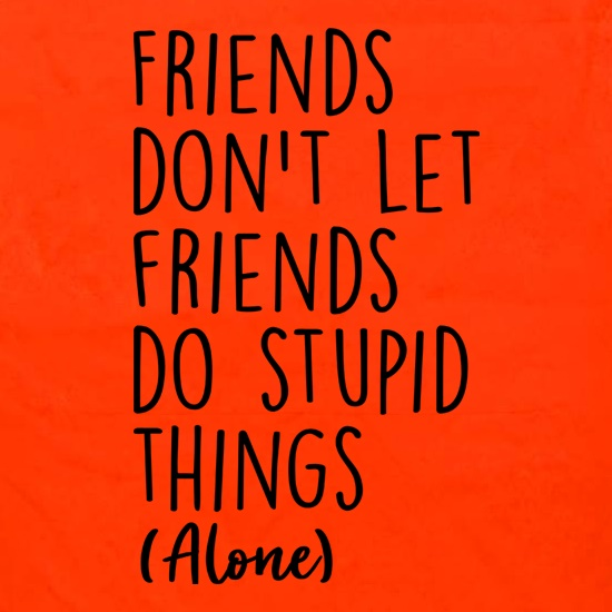 Friends Don't Let Friends Do Stupid Things (Alone) Apron