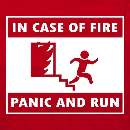 In Case Of Fire Panic And Run Apron