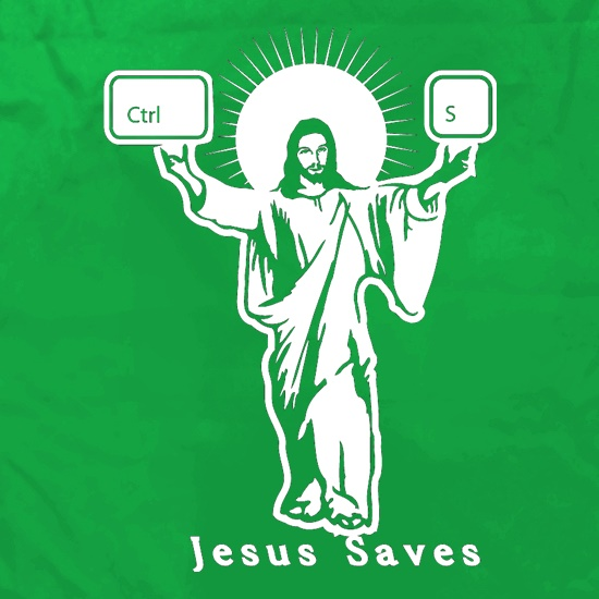 Jesus Saves (Ctrl+S) Apron