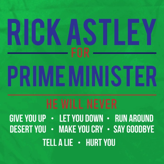 Rick Astley For Prime Minister Apron
