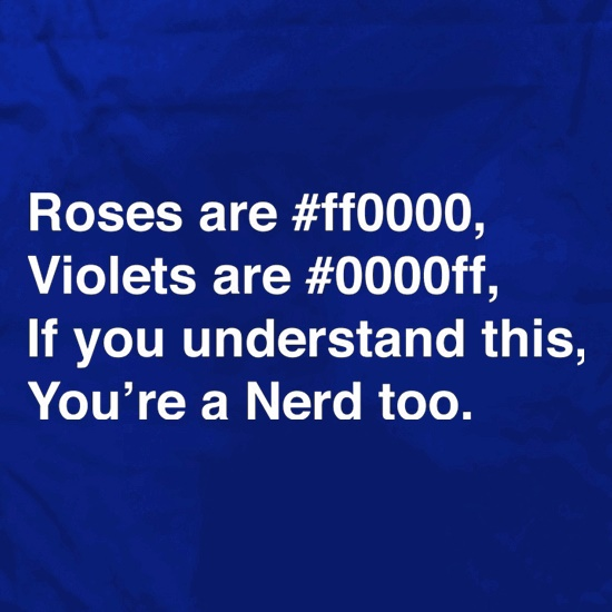 Roses Are #ff0000, Violets Are #0000ff, if you understand this, you're a nerd too Apron