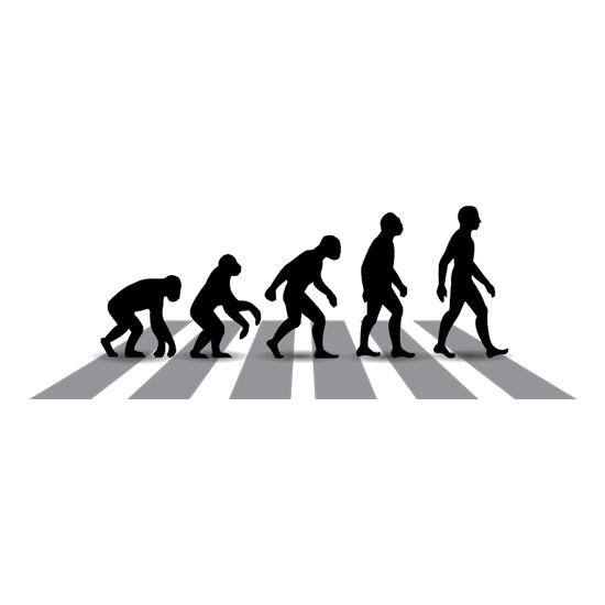 Evolution Of Man Abbey Road t-shirts