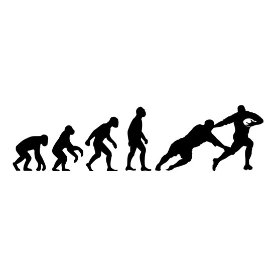 Evolution of Man Rugby t-shirts