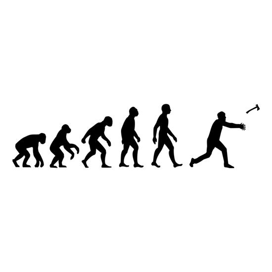 Evolution Of Man Throwing Axe t-shirts
