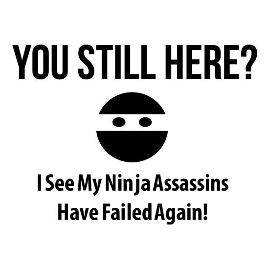 you still here? i see my ninja assassins have failed again t-shirts