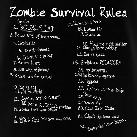 List of Zombie Rules t-shirts