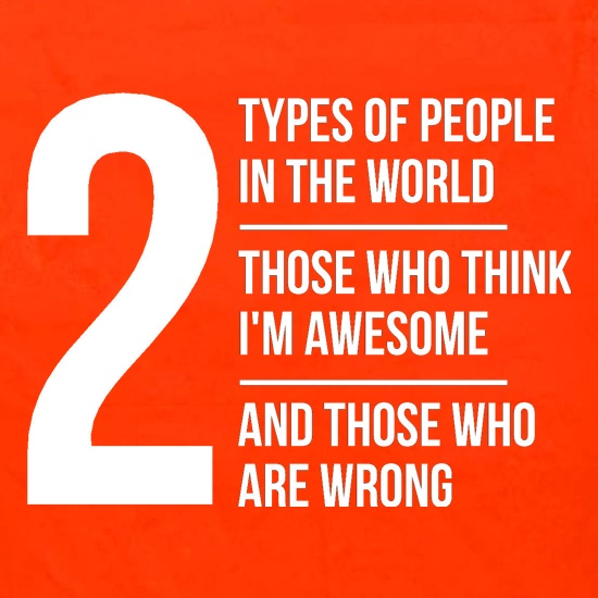 2 types of people in this world, those who think I'm awesome and those who are wrong t shirt