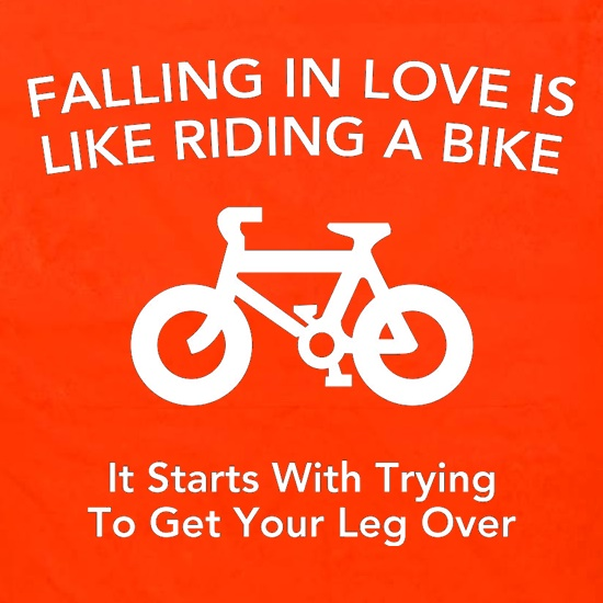 Falling In Love Is Like Riding A Bike It Starts With Trying To Get Your Leg Over t shirt