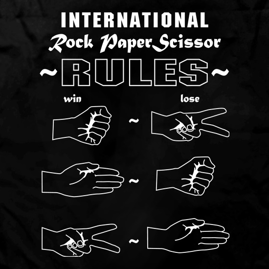 Rock Paper Scissor international rules t shirt