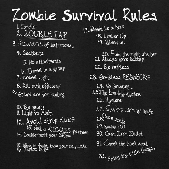 List of Zombie Rules t shirt