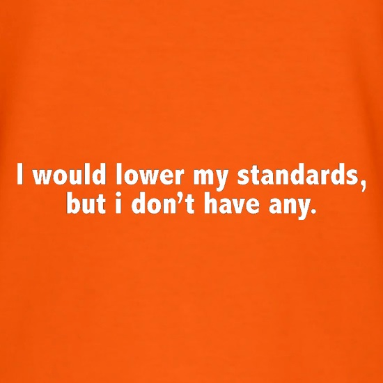 I Would Lower My Standards, But I Don't Have Any t shirt